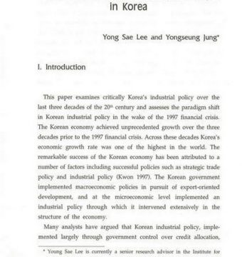 Financial Crisis and Industrial Policy in Korea