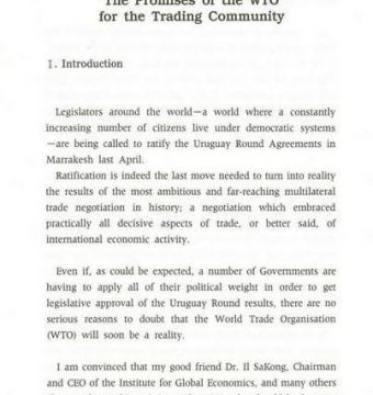 The Promises of the WTO for the Trading Community
